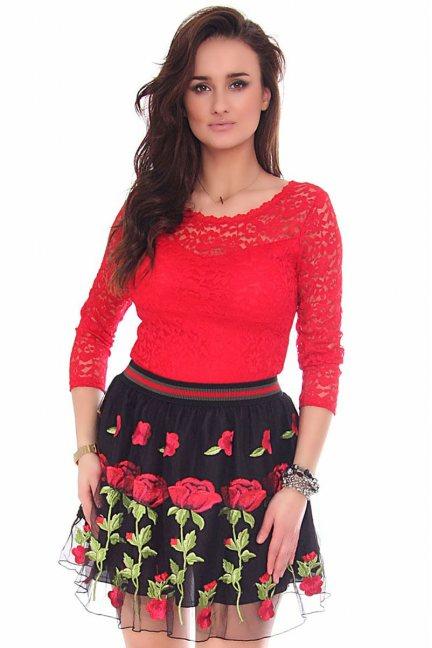 Body modne z koronki CMK159 czerwone