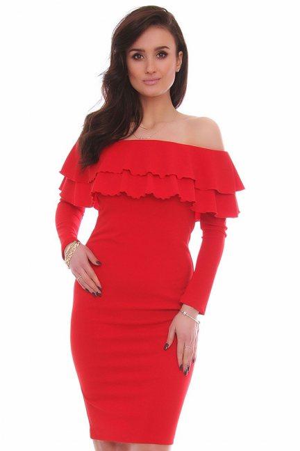 Sukienka hiszpanka midi CM587 czerwona