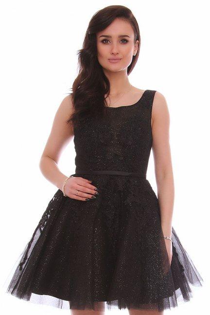 Sukienka tiulowa z gipiurą CMW11 czarna