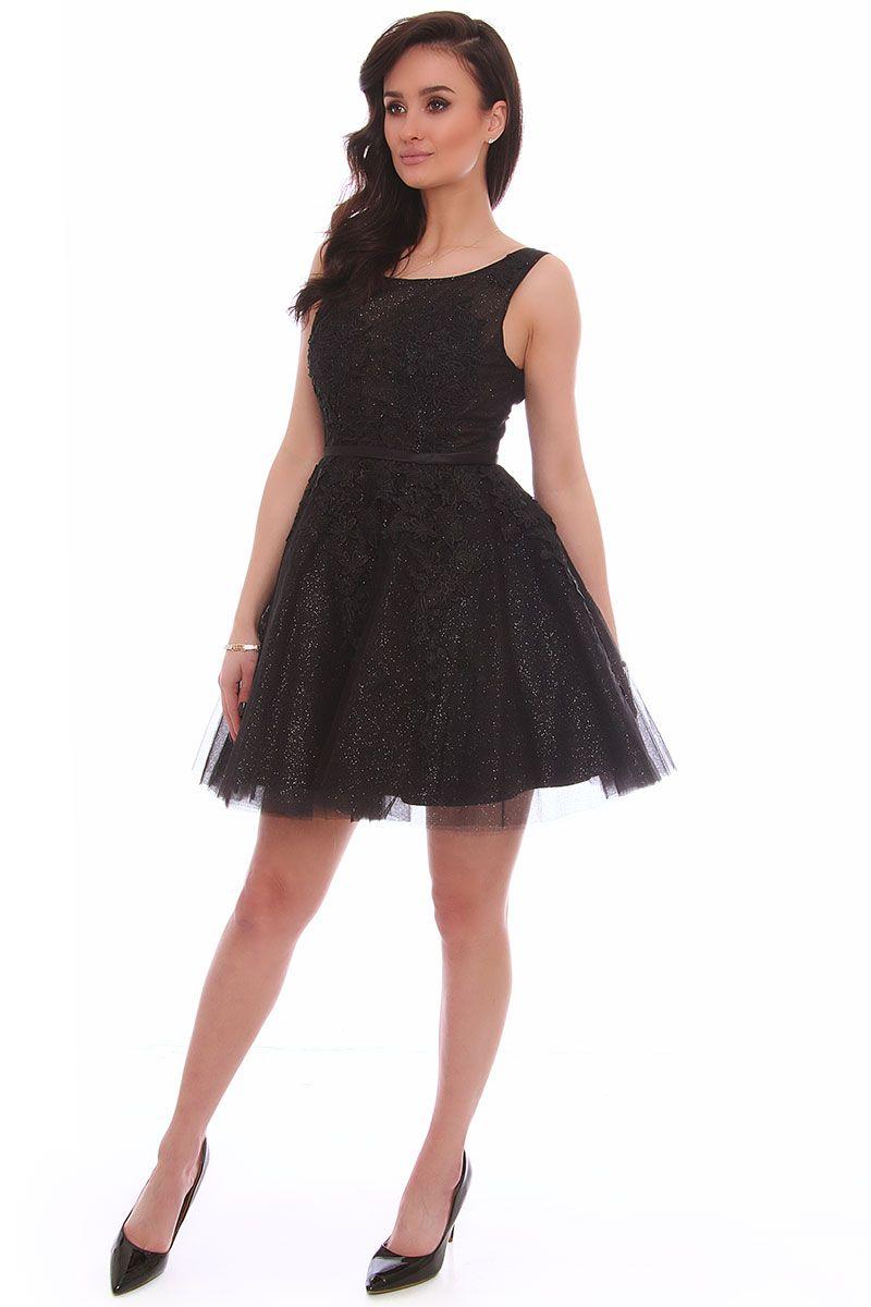 8c712bd9 Sukienka tiulowa z gipiurą CMW11 czarna sukienki na wesele CosmosModa