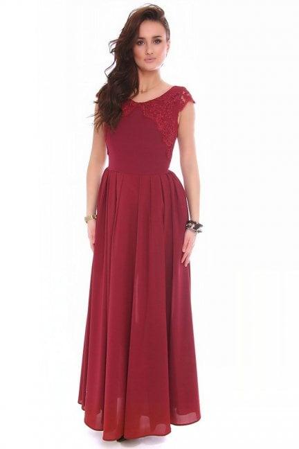 Sukienka szyfon długa CMK162 bordowa