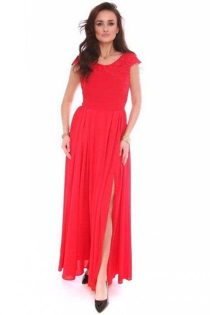 Sukienka szyfon długa CMK162 czerwona