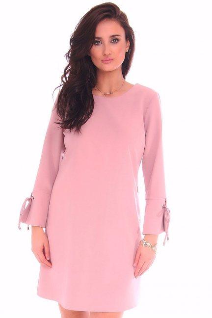 Sukienka wiązane rękawy CMK114 różowa