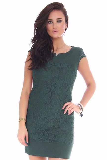 Sukienka mini z koronką CMK42 zielona