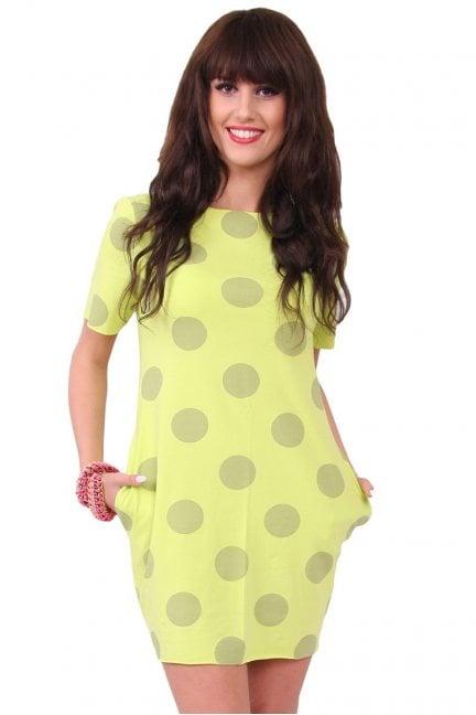 Sukienka w duże grochy CM298 limonka