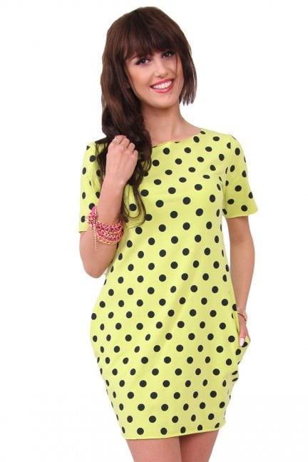 Sukienka w małe groszki zielona