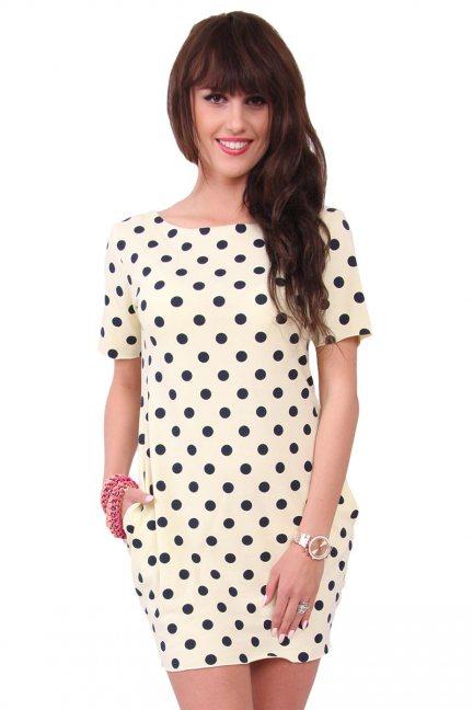 Sukienka w małe groszki CM298 żółta