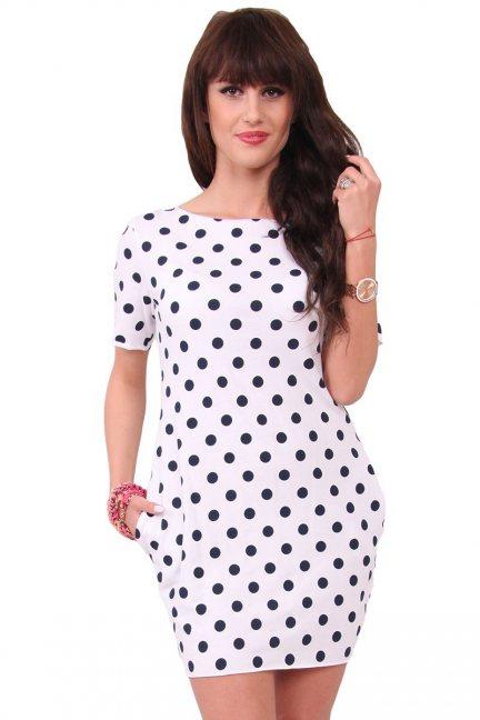 Sukienka w małe groszki CM298 biała