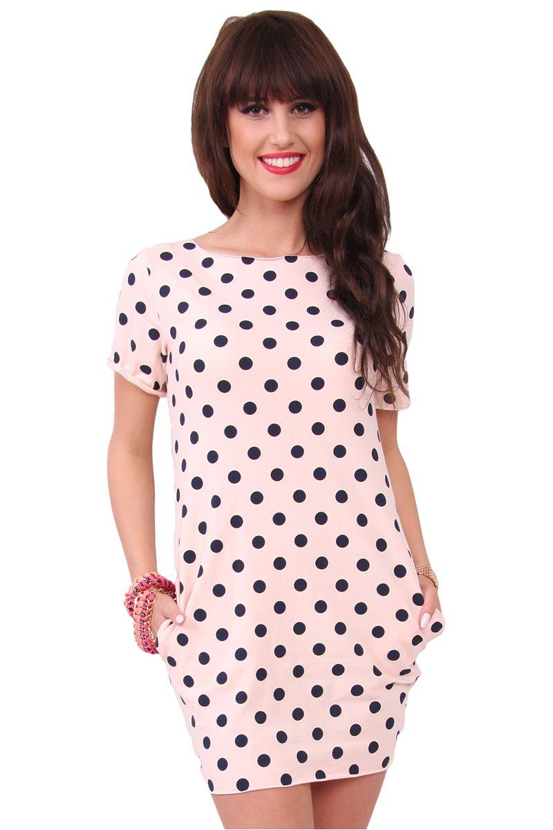 aa1f43308f Sukienka w małe groszki CM298 pudrowy róż sklep internetowy CosmosModa