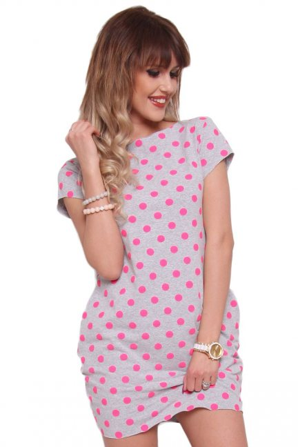 Sukienka neonowe groszki różowa