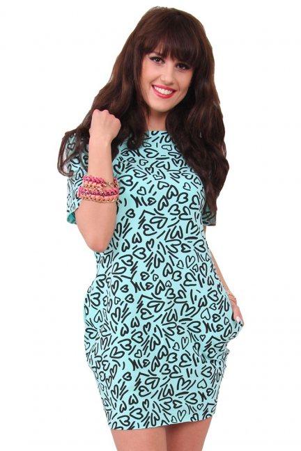 Sukienka dresowa w serca CM298 miętowa
