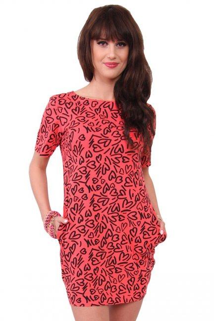 Sukienka dresowa w serca CM298 koralowa