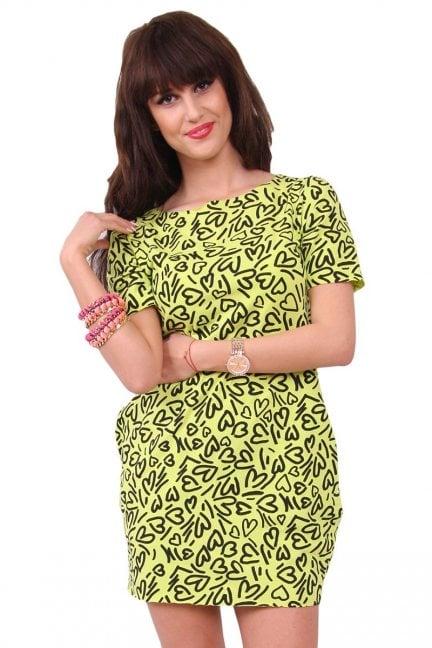 Sukienka dresowa w serca CM298 zielona