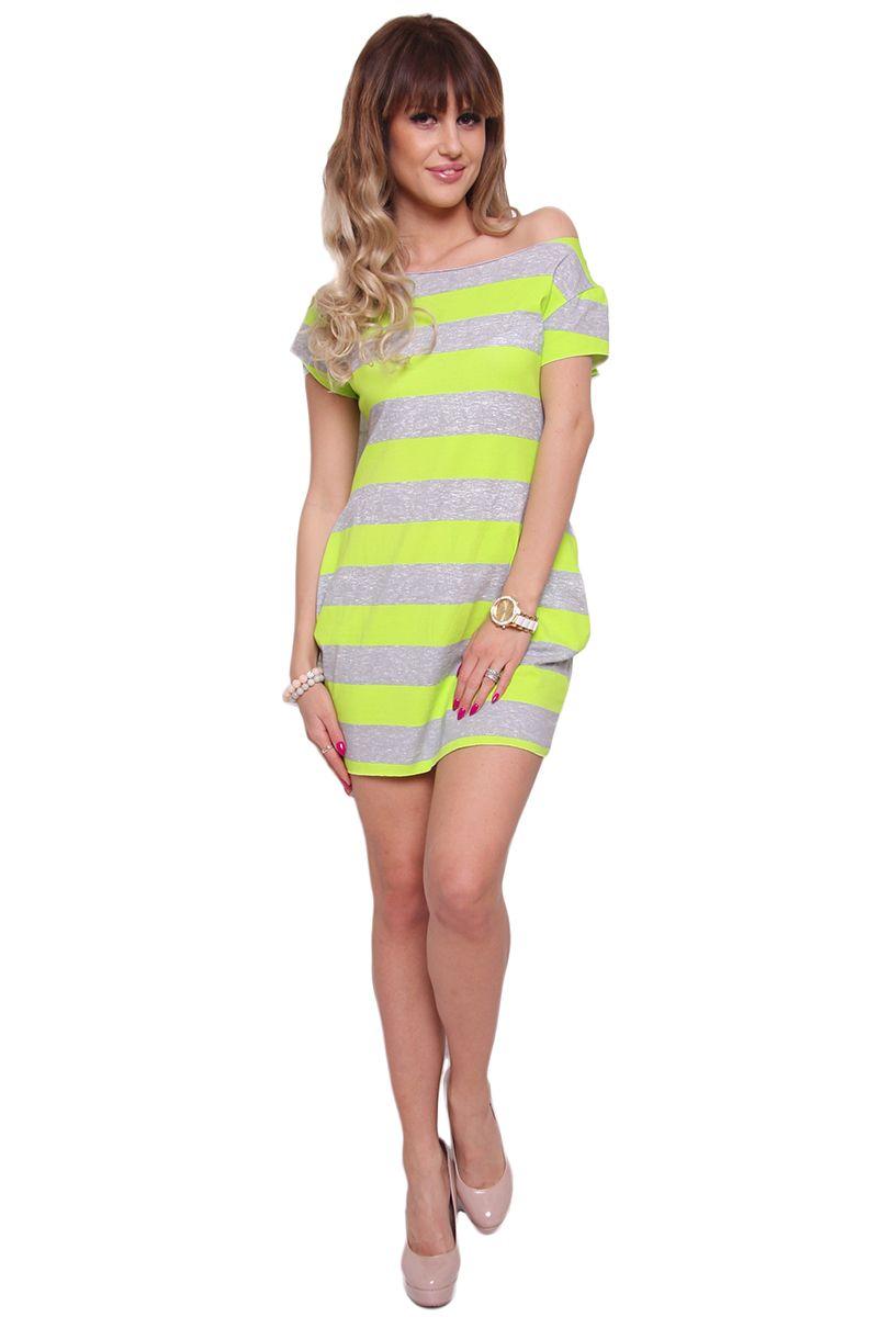 5762060936 Sukienka w neonowe paski CM298 zielona  Sukienka damska z krótkim rękawem  ...