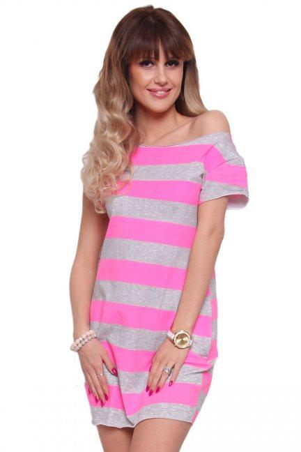 Sukienka w neonowe paski CM298 różowa