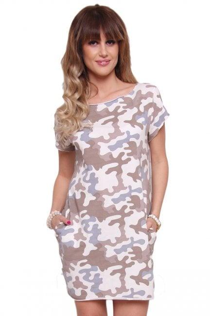 Sukienka bawełna moro CM298 brązowa