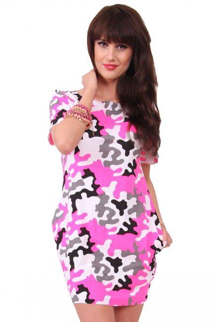 Sukienka bawełna moro CM298 różowa