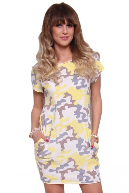 Sukienka bawełna moro CM298 żółta