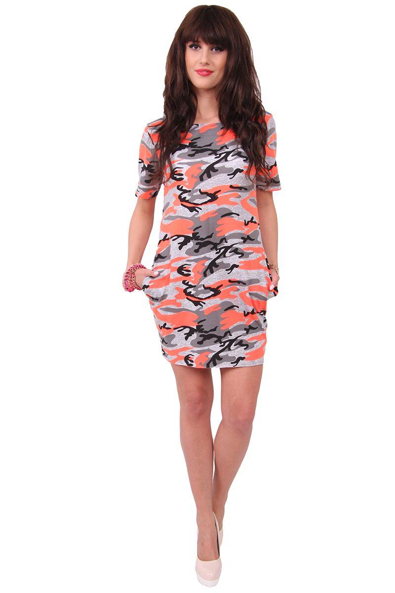 aa945711 Sukienka bawełna moro CM298 pomarańczowa sklep online cosmosmoda.pl