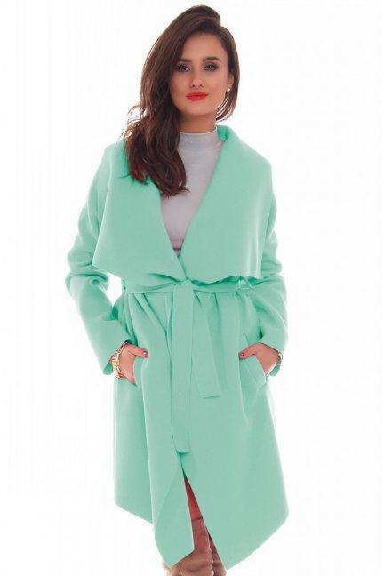 Płaszcz damski z flauszu długi miętowy