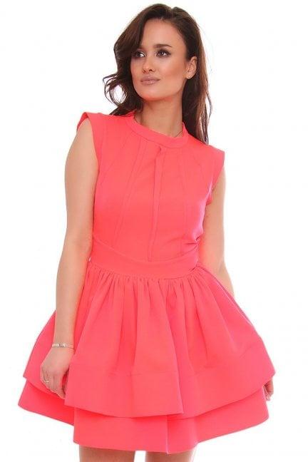Sukienka elegancka rozkloszowana neonowa
