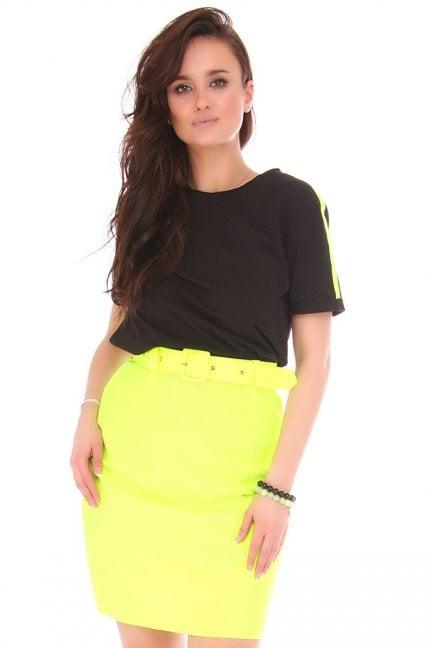 Spódnica dopasowana mini z paskiem neonowa