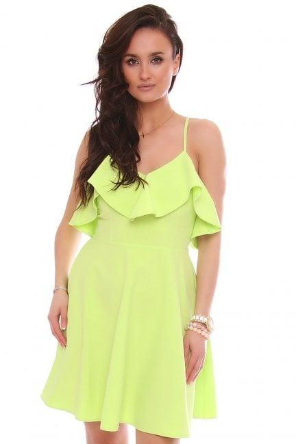 Sukienka rozkloszowana z falbanką limonka