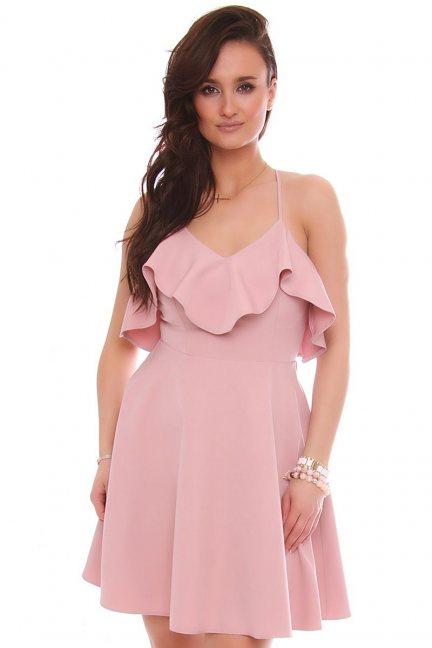 Sukienka rozkloszowana z falbanką brudny róż