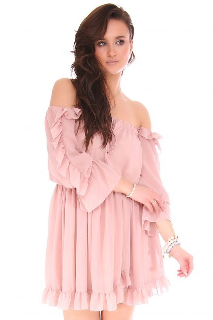 Sukienka hiszpanka mini z falbankami różowa