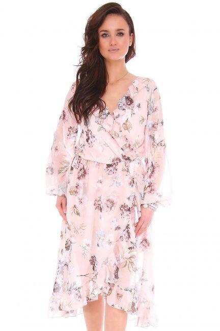 Sukienka midi w kwiaty z dekoltem różowa