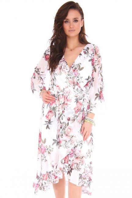Sukienka midi w kwiaty z dekoltem biała