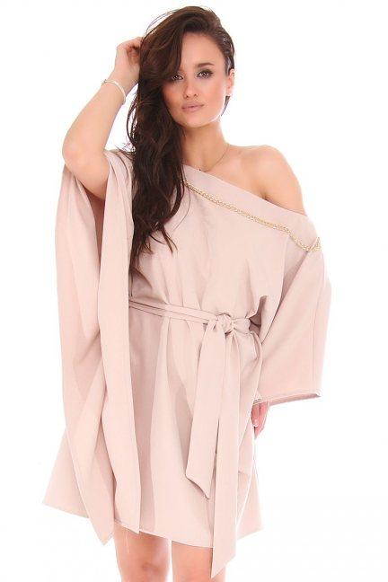 Sukienka nietoperz z łańcuszkiem beżowa