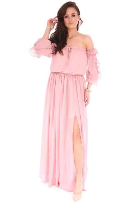 Sukienka elegancka maxi hiszpanka brudny róż