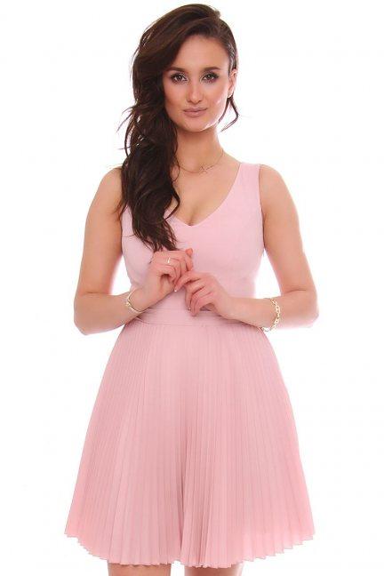 Sukienka mini z plisowanym dołem różowa