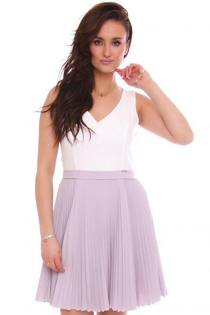Sukienka mini z plisowanym dołem szara