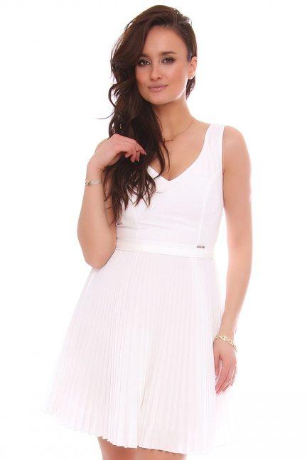 Sukienka mini z plisowanym dołem biała