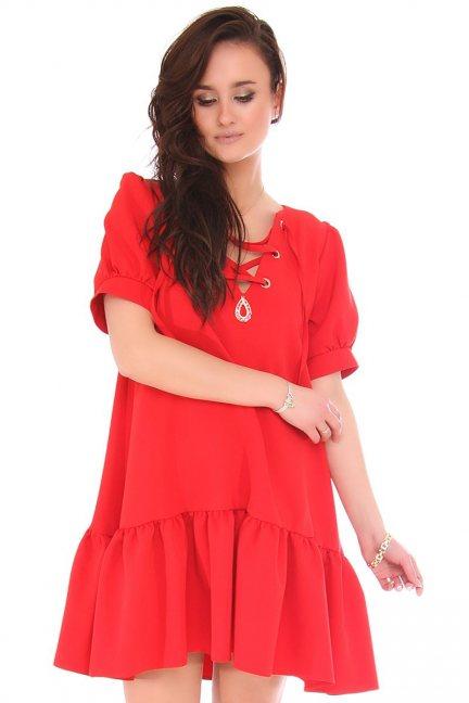 Sukienka mini z wiązanym dekoltem czerwona