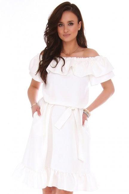 Sukienka midi z odkrytymi ramionami biała