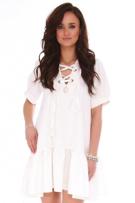 Sukienka mini z wiązanym dekoltem biała