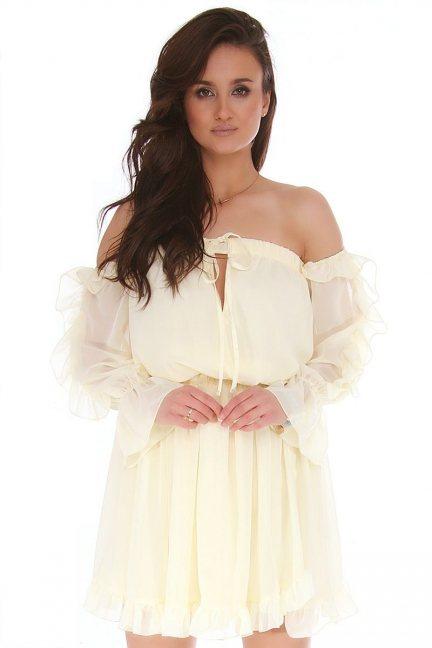 Sukienka hiszpanka mini z falbankami ecru