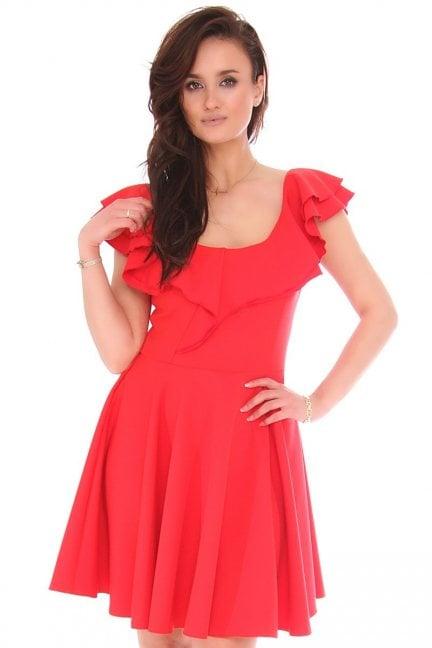 Sukienka mini rozkloszowana z falbankami
