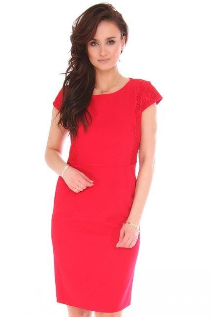 Sukienka dopasowana midi z koronką czerwona