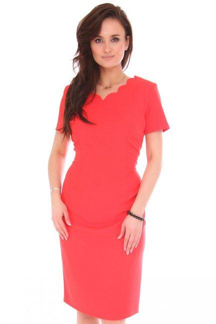 Sukienka midi ołówkowa z wyciętym dekoltem