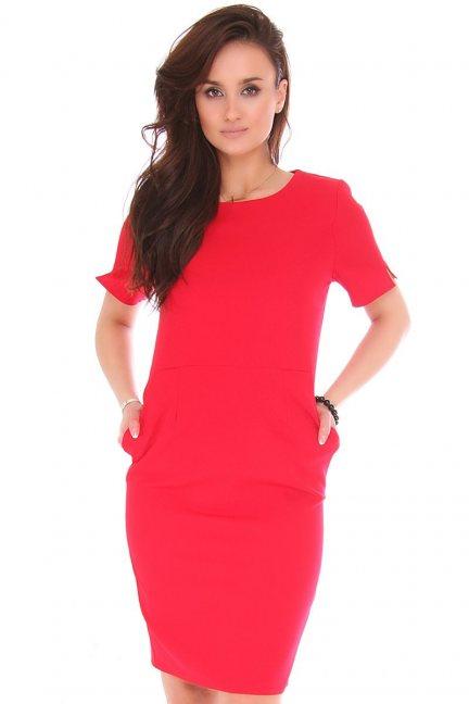 Sukienka wizytowa z kieszeniami czerwona