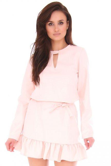 Sukienka damska mini z falbanką różowa