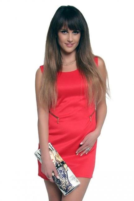 Sukienka z suwakami mini CM086 czerwona
