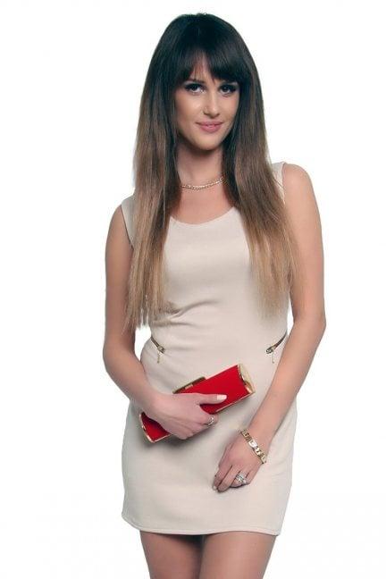 Sukienka z suwakami mini CM086 beżowa