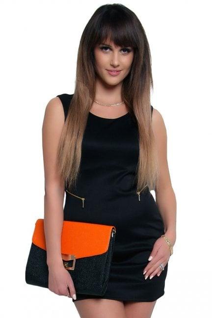 Sukienka z suwakami mini CM086 czarna