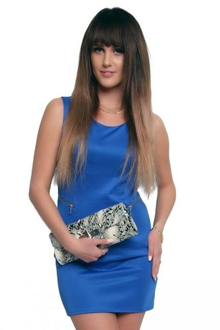Sukienka z suwakami mini CM086 niebieska