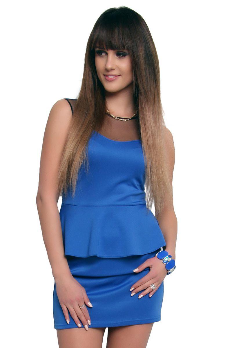 9f60374bf4 Sukienka baskinka z tiulem CM108 niebieska  Modne sukienki wizytowe ...